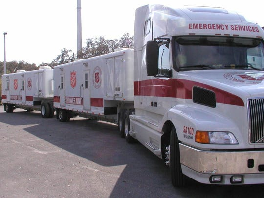 Salvation Army mobile shower units leave from Florida