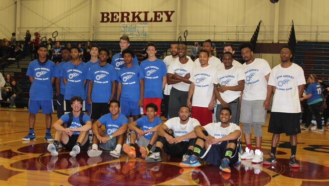 Berkley High School's basketball team faced off against alumni April 13, 2017 in honor of Dominic Geskey, a freshman student who died suddenly last month of a heart attack. The event also raised money for autism.