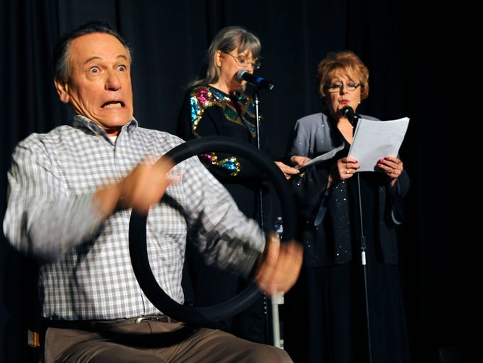 Jim Mort, left, Kathy Easly and Sue Higley do a skit