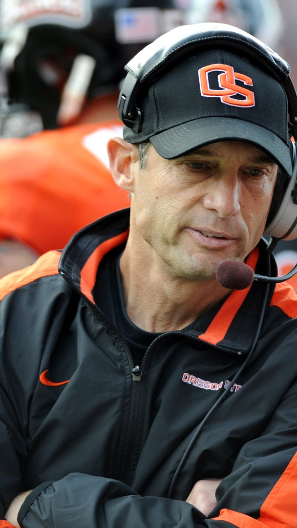 Nebraska coach Mike Riley, pictured her during his