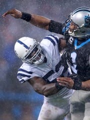 Jackson smashed into Carolina Panthers quarterback