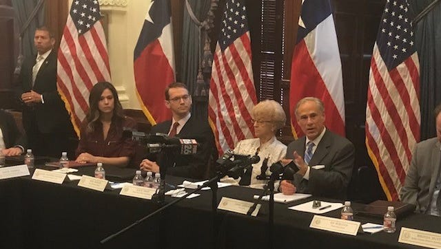 Texas Gov. Greg Abbott at the second of three round-table discussions on gun violence on May 23, 2018.