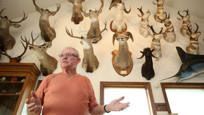 Pat Ackerman wants to sell some of his hunting trophies, but current law prevents him from selling the trophies he hunted in Oregon. Photo taken on Friday, Aug. 14, 2015, in Salem, Ore.
