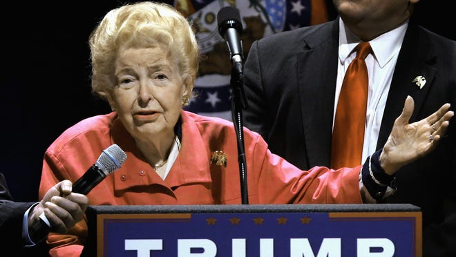FILE In this March 11, 2016 file photo, longtime conservative activist Phyllis Schlafly endorses Republican presidential candidate Donald Trump before Trump begins speaking at a campaign rally in St. Louis. Schlafly, who helped defeat the Equal Rights Amendment in the 1970s and founded the Eagle Forum political group, has died at age 92. The Eagle Forum announced her death in a statement Monday, Sept. 5, 2016. (AP Photo/Seth Perlman, file)