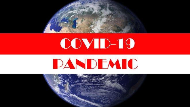Coronavirus. Covid-19. Coronavirus Pandemic. Coronavirus2019. Earth with text concerning the Coronavirus Pandemic.  Elements of this image furnished by NASA. COVID-19. Earth in dark sky with banner.