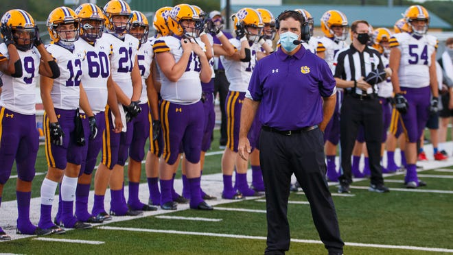 La Grange head coach Matt Kates led the Leopards to a 32-28 win over La Vernia Friday night at home for the team's first win of the season.