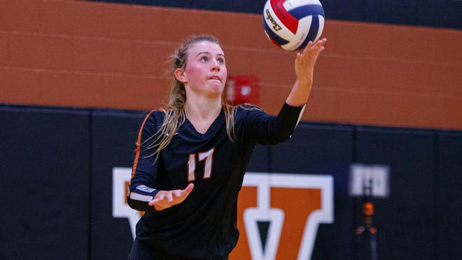 Westwood setter Kenzie Beckham, an all-Centex selection by the American-Statesman in 2019, serves the ball against Pflugerville Tuesday at Westwood High School. The season begins this week for volleyball teams in classes 5A and 6A.