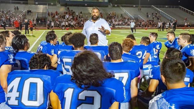 Lehman head coach Bruce Salmon led the Lobos to a season-opening 28-27 loss to Marble Falls Friday.