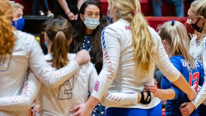 Westlake volleyball coach Marci Lauracuente talks to her team during a match against Lake Travis earlier this season. The Chaps have entered a quarantine after positive coronavirus tests in the program and will not resume volleyball activities until Nov. 7.