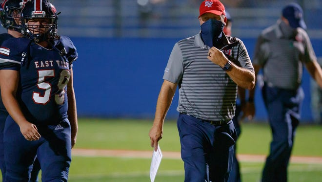 East View head coach Jerod Fikac led the Patriots to a 28-21 win over Bastrop Friday.