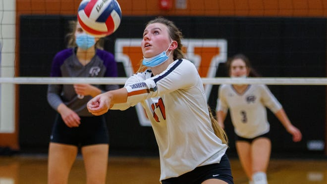 Westwood setter Kenzie Beckham passes the ball against the Cedar Ridge Raiders during the third set at the District 25-6A volleyball game on Tuesday at Westwood High School. Westwood won in four sets to tighten its grip on a playoff spot and knock Cedar Ridge out of first place in the district race.