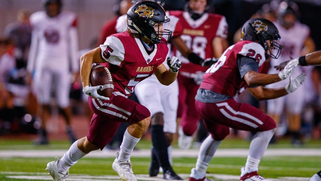 Rouse wide receiver Drew Henson, returning a kickoff against Weiss in September, came up big against Brenham last week, catching nine passes for 144 yards in the victory.