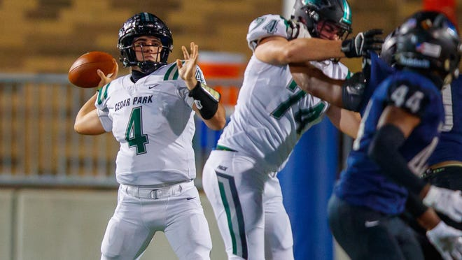 Cedar Park quarterback Ryder Hernandez, preparing to throw deep against Hendrickson in a game last month, is the driving force for a team that remains unbeaten and aspires to make a deep run in the Class 5A state playoffs.