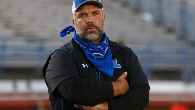 Lehman head coach Bruce Salmon and the Lobos lost 49-7 to Seguin Friday.
