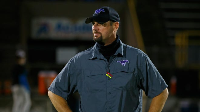 Marble Falls head coach Brian Herman led the Mustangs to a 47-0 win over Crockett on Saturday.