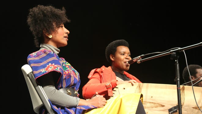 Performers Alsarah, left, and Sophie Nzayisenga, members of The Nile Project, played music from the Nile River Basin and presented information on the region at West High on March 9, 2015.