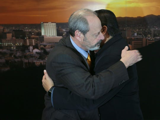 "El Paso Mayor Oscar Leeser and Juarez Mauor Armando Cabada exchanged an ""abrazo"" at the conclusion of a press conference at El Paso City Hall Wednesday."