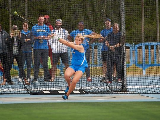 Alyssa Wilson throwing the hammer for UCLA women's