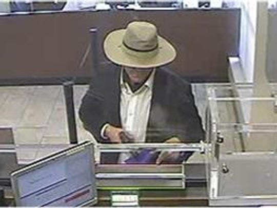 Surveillance image of a suspected serial bank robber who has been active recently in Los Angeles County.
