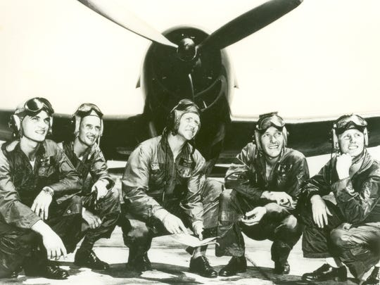 "The first Blue Angels team: Lt. Al Taddeo, Lt. Gale Stouse, Lt. Cmdr. ""Butch"" Voris, Lt. Maurice Wickendoll, and Lt. Mel Cassidy in 1946."