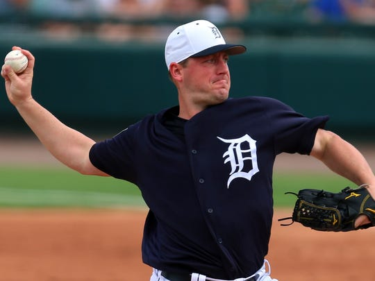 Feb 24, 2018; Lakeland, FL, USA; Tigers pitcher Jordan