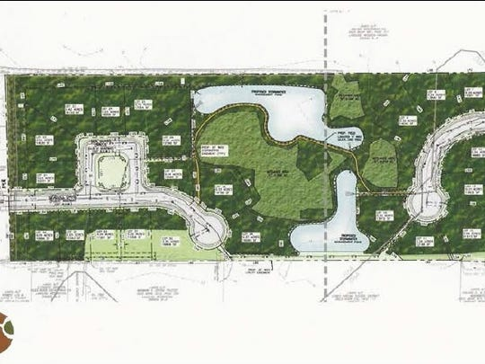 A developer's sketch of the proposed Highland Heights development in Lewes. Some residents want to buy the land from the owner and preserve it as a forest named for the late Beau Biden.