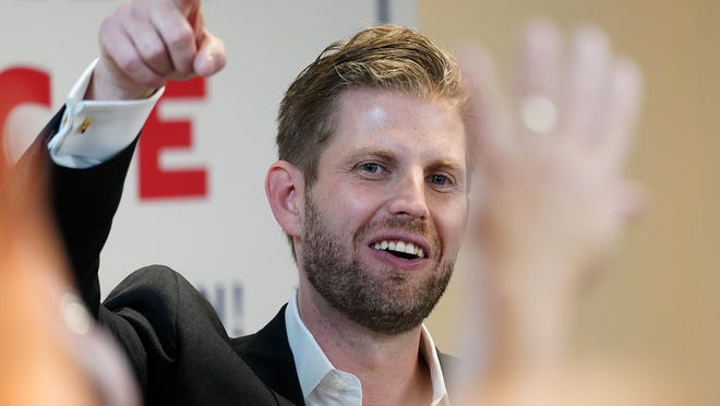 President's son Eric Trump arrives in Portsmouth to speak with supporters inside and outside the Malt House Exchange at 95 Brewery Lane on Thursday.