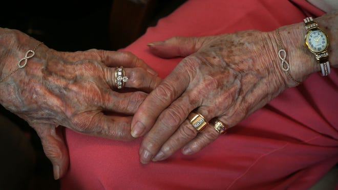 After 72 years together, Iowans Vivian Boyak and Nonie Dubes made their relationship official in a marriage ceremony in Davenport, complete with wedding rings.