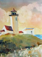 """""""Lighthouse,"""" a watercolor work by Krista Morris, is part of the """"Catching the Light"""" group show at the Betsy Jacaruso Gallery in Rhinebeck through April 30."""