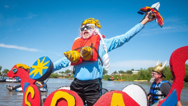 A raft advertising the Society for Creative Anachronism floats on during 2016 Raft the Rio event. This year's event is set for 10 a.m. Saturday, June 17 beginning at La Llorona Park.