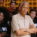 Civil Rights activist Julian Bond is shown here attending a local demonstration by the Dream Defenders in 2013.