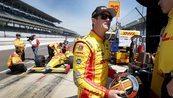Andretti Autosport IndyCar driver Ryan Hunter-Reay (28) waits to get in his car during practice for the Indianapolis 500  Monday, May 15, 2017, afternoon at the Indianapolis Motor Speedway.