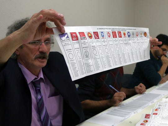 A Turkish election official shows a paper ballot with