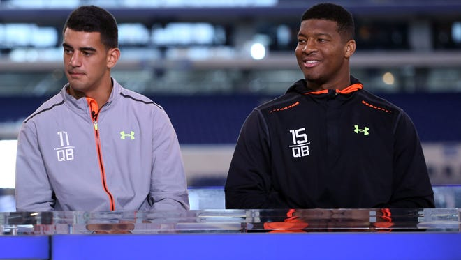 Florida State quarterback Jameis Winston (right) and Oregon Ducks quarterback Marcus Mariota do an interview on the NFL Network in February.