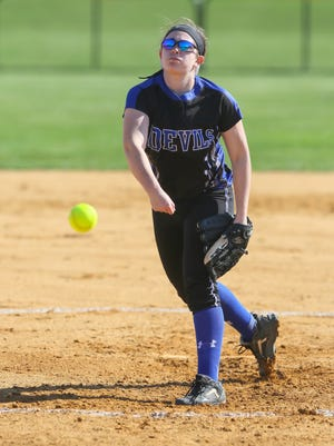 Hammonton pitcher Nicole Vaccarella throws in a 7-2 loss to Cumberland on April 1. The No. 13-ranked Blue Devils will play in a pair of the area's best tournaments in the next two weekends.