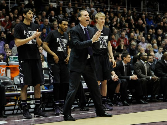 Northwestern Wildcats head coach Chris Collins against the Indiana Hoosiers during the first half at Welsh-Ryan Arena.