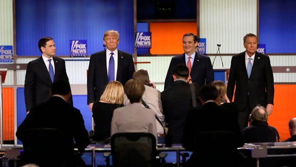 Marco Rubio, Donald Trump, Ted Cruz and John Kasich