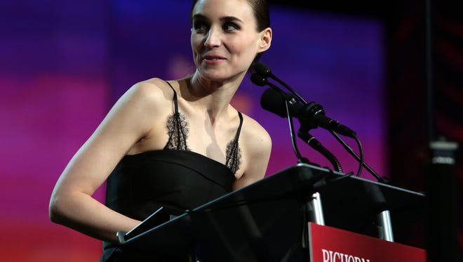 Rooney Mara, who co-starred in 'Carol' is presented the Spotlight Award at the 27th Palm Springs International Film Festival by Ben Mendelsohn.