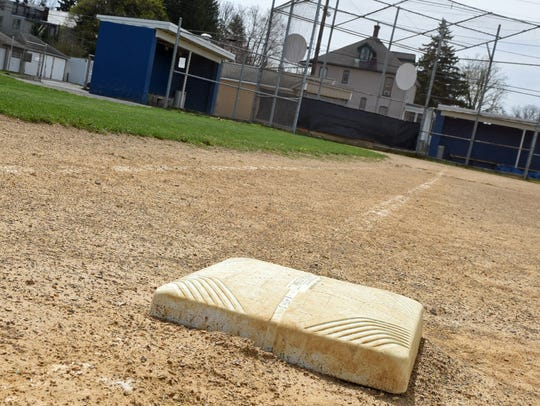 One of the bases on Henninger Field, the first home of Wilson College's baseball team.