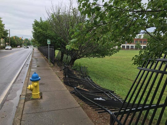 A vehicle driven by Alex Hernandez plowed through the fence at Burton and University streets. The fence protects the property where MTMC once stood. The property is now owned by MTSU.