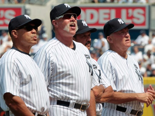 Retired New York Yankee's, left to right, Reggie Jackson, Goose Gossage, and Ron Guidry, all have a place in Monument Park, but Graig Nettles does not.
