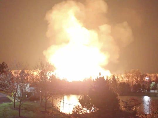 Massive gas line fire forces evacuations in Detroit Suburb