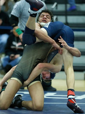 Section V Class AA: 126 Lb division - Rush-Henrietta's Elijah Sims defeated Pittsford's Nick Sanko at Gates Chili High School.