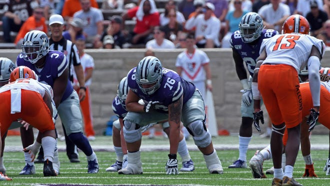 Kansas State left guard Josh Rivas (76) lines up against Bolwing Green last season at Bill Snyder Family Stadium.