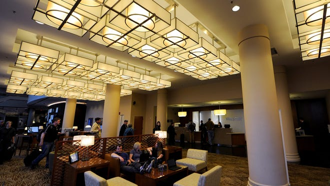 The lobby at the newly renovated Westin Hotel, Thursday, April 24, 2014, in Indianapolis.