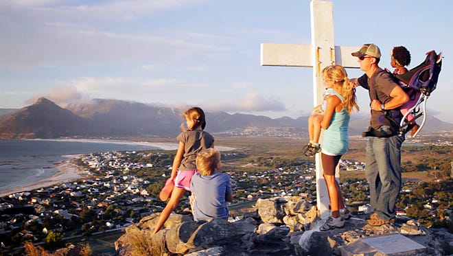 The Lankfords overlook Cape Town. Pictured are Joey, his wife Courtney and their five children.