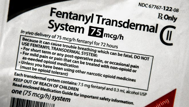 A packet of Fentanyl Transdermal was confiscated by the Dutchess County Drug Task Force and photographed at the Town of Poughkeepsie Police Department.