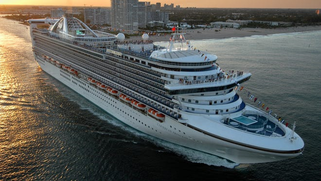 The new Caribbean Princess departs on its maiden voyage from Port Everglades in Fort Lauderdale, Fla., in this April 3, 2004 photo.