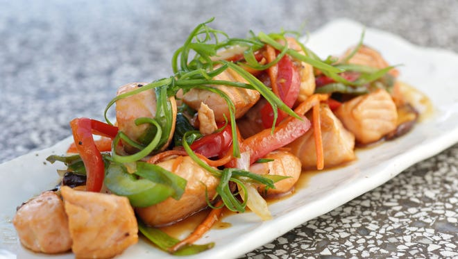 Salmon and vegetable saute from Andrew Nam, chef of Stingray Sushi in Scottsdale.