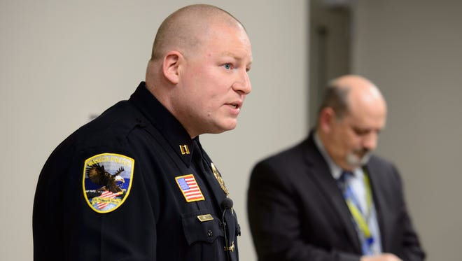 Waseca Police Captain Kris Markeson, left, and Waseca school Superintendent Tom Lee spoke at a news conference about the  17-year-old arrested in plot to kill family and massacre students at Waseca school.